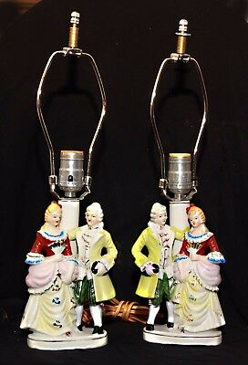 "Pair of Vintage Table Lamps Victorian Dancing Couple Japan-9"" CollectIble Decor"