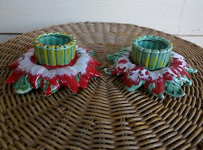 Vintage Pair of Hand Painted Ceramic Christmas Candle Holders Holidays Candles