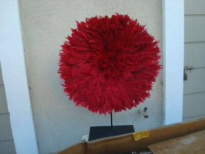 """21"""" Red  / African Feather Headdress / Juju Hat / 1st. Quality"""
