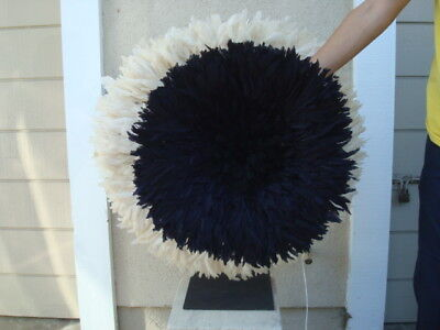 """20"""" Black / Authentic  / African Feather Headdress / Juju Hat / 1st. Quality"""