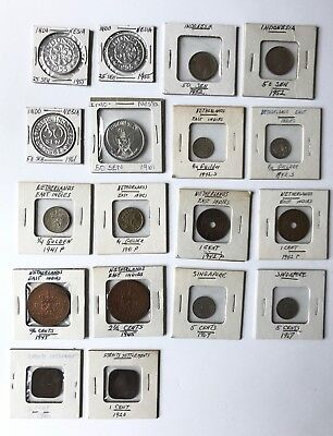18 Asian Coins Indonesia Netherland East Indies Singapore Straits Settlements