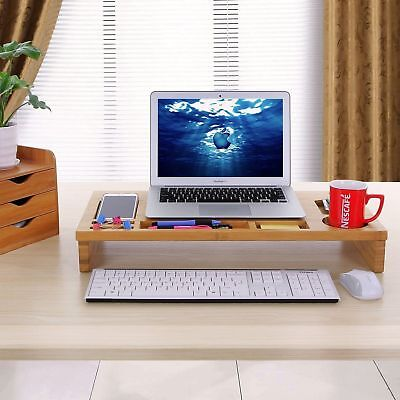 Nature Bamboo Monitor Stand Riser with Storage Organizer, Laptop Cellphone TV