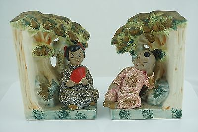 Vintage Tilso Japan Hand Painted Ceramic Bookends Japanese Girl and Boy
