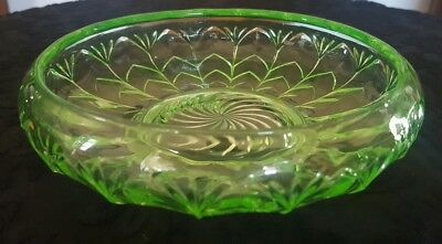 Uranium Glass Footed Serving Bowl Swirl and Radiating Leaf Pattern