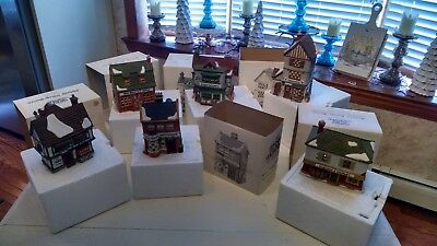 Lot of (6) Six Department 56 Dickens' Village Porcelain Christmas Houses