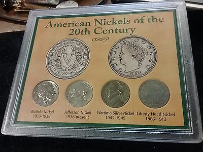 American Nickels of the 20th Century Set Buffalo Jefferson Wartime Liberty Head