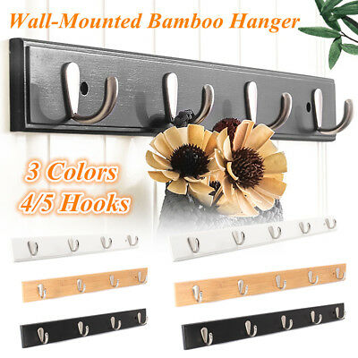 4/5 Metal Hook Wall Mount Bamboo Hanging Coat Rack Wall Hanger Clothes Holder