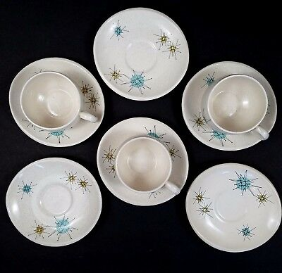 Franciscan Starburst Cups Saucers Lot Atomic MCM Mid Century Modern Retro 1950s