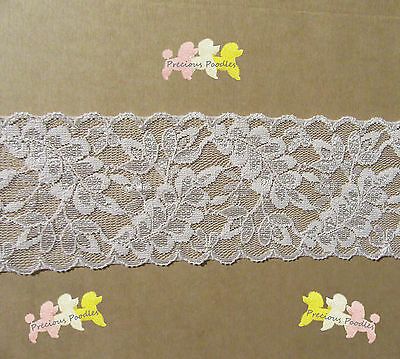 Pink Stretch Lace 6 cm w. Pretty Leaf Pattern Top Quality Headbands all Crafts