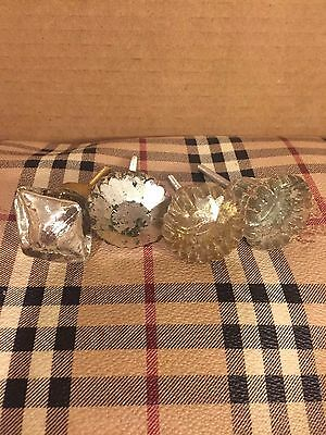 3 Vintage Glass Knobs & 1 Non-Vintage Drawer Knobs Cabinet or Drawer Knobs!