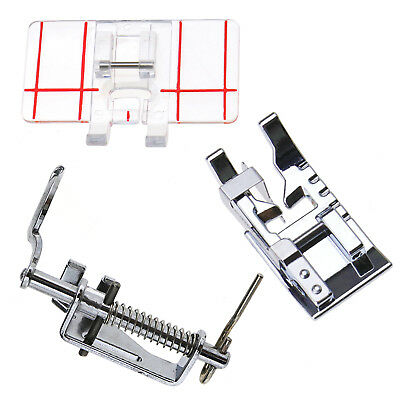 3PCS Clear Plastic Parallel Stitch Foot Presser Home Domestic Sewing Machine