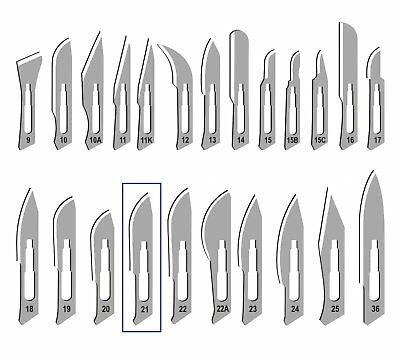 #21 Sterile Scalpel Surgical Blades Carbon Steel In Metal Foil (Box Of 100)