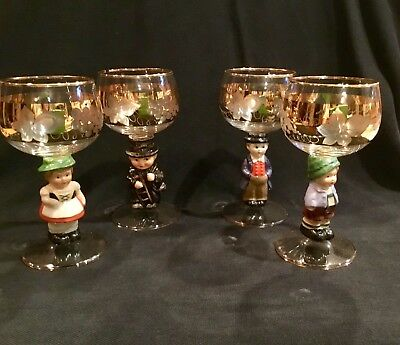 Set of 4 German GOEBEL Crystal Wine Glasses w/GOLD accents