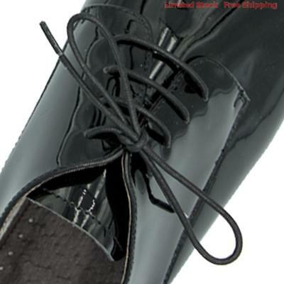 "Wax Cotton Black Dress Shoe Laces 80cm Work Boot 3 Eyelet Round Thin 32"" Waxed"