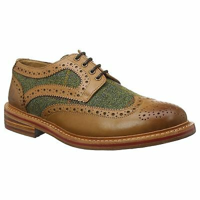 Chatham Lewis II Tan Mens Leather Lace-up Low-Profile Brouge Shoes