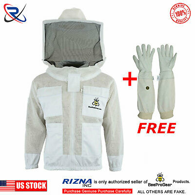 Beepro 3 Layer Ultra Ventilated beekeeping jacket protective Round Veil hat -L