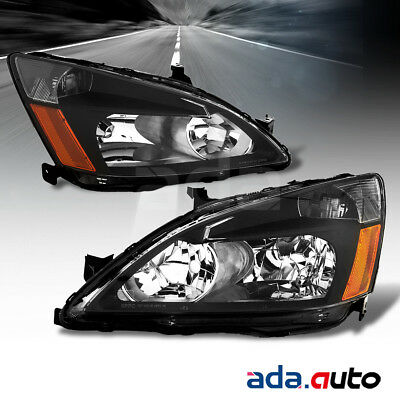 For 2003 2004 2005 2006 2007 Honda Accord Factory Style Black Headlights Set