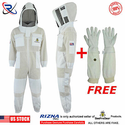 Beepro 3 Layer Beekeeping Full Suit Ventilated Suit Astronaut veil @L