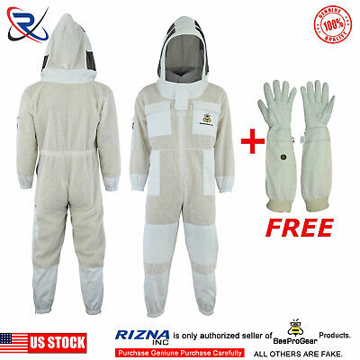 Beepro 3 Layer beekeeping full suit ventilated jacket Astronaut veil @S-32