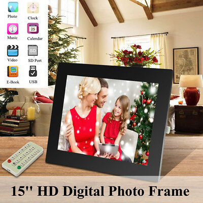 15'' HD LED Digital Photo Picture Frame MP3 Music Player Remote Control 2G Card