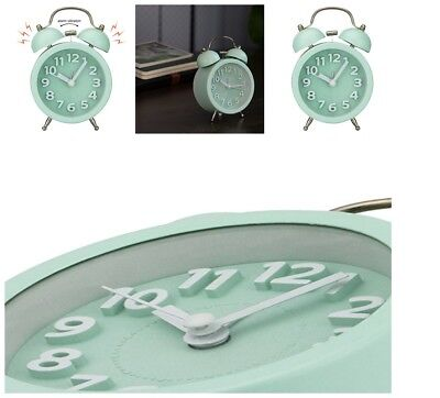 Non Ticking Vintage Alarm Clock Bedside Table Twin Bell Classic Timer Mint Green