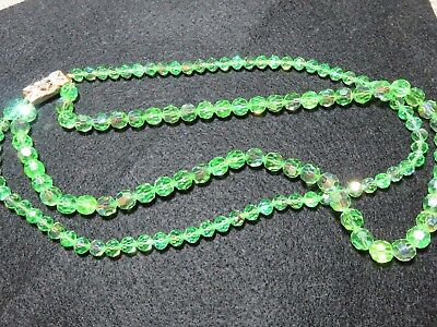 Vintage Mid Century Austrian Czech Crystal Bead Necklace Holiday Green EXC