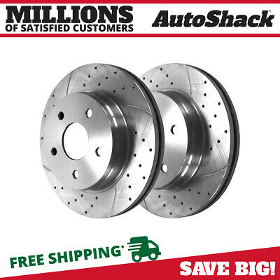 Drilled Slotted Brake Rotors 5 Stud Fits 03-2008 Subaru Forester 2 Front Pair