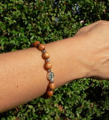 Holy Land OLIVE WOOD BRACELET Religious Charm Jesus St Mary Mini Rosary Catholic
