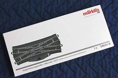 New Marklin 24624 C Track Double Slip Switch, w Motor & LED, Ships Fast from US!