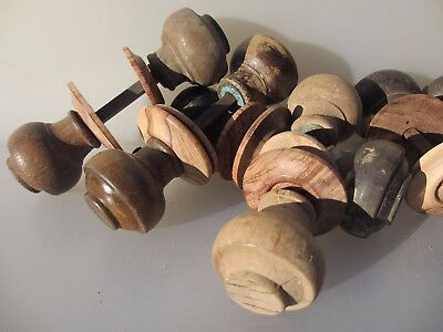 Antique Wooden Door Knobs Handles Vintage Victorian Edwardian Plates   £25 a Set