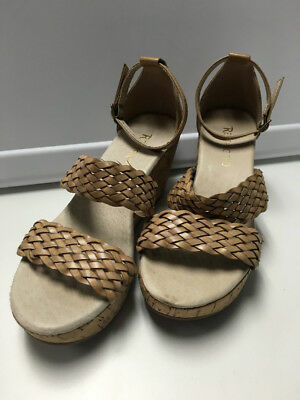0f7ca8ebec RESTRICTED Brown Leather Woven Strappy Open Toe Cork Wedge Heels Sz 6 B3088