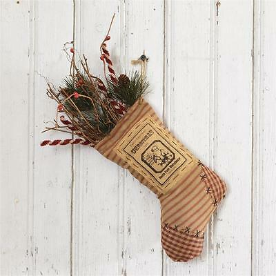 New Primitive Vintage Antique Style SANTA PINE BERRY TWIG Christmas Hanging 12""