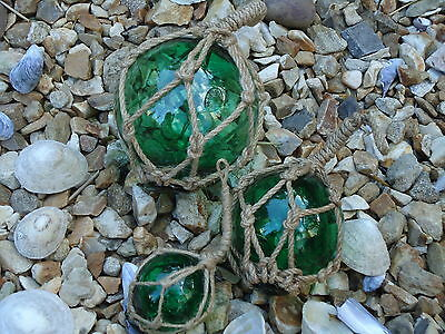 Jade Green Fishing Boat Net Floats - Buoys Set Of 3 Blown Glass Balls - Bathroom