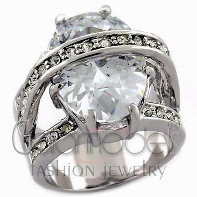 A1699 Sparkling Clear Aaa Grade Simulated Diamond 14K White Gold Plated Ring