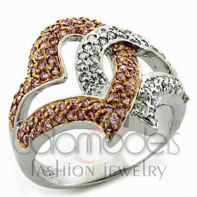 A2035 Rose Pink Simulated Diamond 925 Sterling Silver Rose Gold Plated Ring