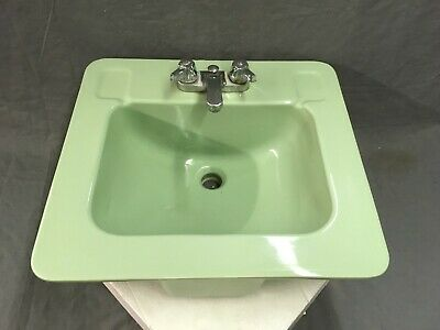 Vtg Drop In Jadeite Green Porcelain Ceramic Bathroom Sink Old Lavatory 758-17E