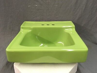 Vtg Mint Apple Green Ceramic Bathroom Wall Sink Old Plumbing Fixture 759-17E