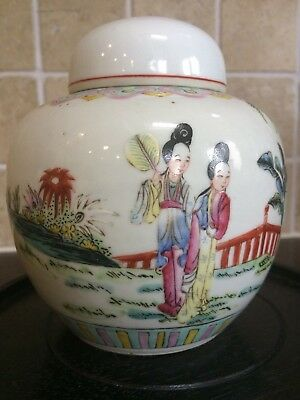A beautiful Chinese antique famille rose lidded pot vase jar 19th century