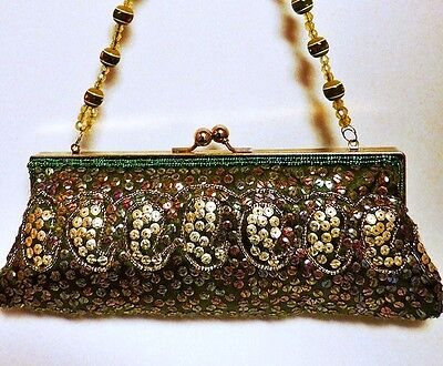 Vintage Green Sequin Embellished Beaded Evening Bag Aurora Borealis Bead Handle