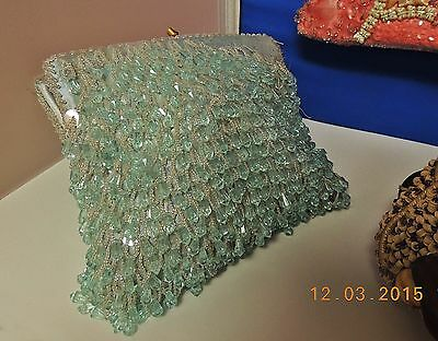 PARTS or REPAIR LOT of 2 HAND EMBELLISHED BEADED EVENING HANDBAGS NEEDS TLC