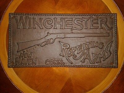 Large WINCHESTER REPEATING ARMS Cast Iron Sign Plaque NEW HAVEN CONN. Rifle