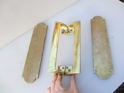 Vintage Brass Door Handles Set Shop Pulls Finger Plates Pub Mid Century Old   9""