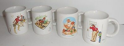 Norman Rockwell 1987 Museum Collections Mugs set of 4 Fisherman Images