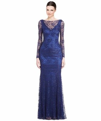 d495f20075 THEIA BLACK   Gold Metallic Long Sleeve Gown Dress 882520 NWT Size 4 ...