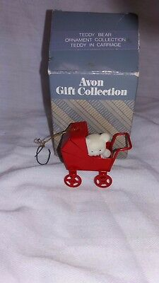 Avon Gift Collection Teddy Bear Ornament Collection Teddy In Carriage in Box