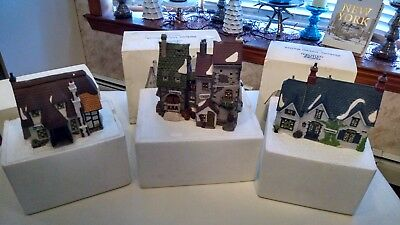 Lot of (3) Three Department 56 Dickens' Village Porcelain Christmas Houses