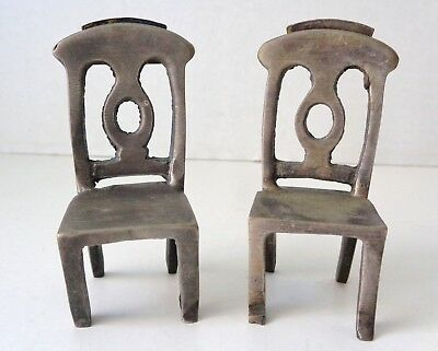 Lot Of 2 Pewter Doll House Miniature Chairs / Place Card Holders
