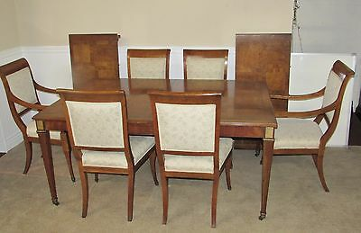 Vintage Baker Walnut Regency Style Dining Room Table And 6 Chairs, Full Set Pads