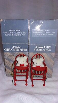 Avon Gift Collection Teddy In High Chair Teddy Bear Ornament Collection lot of 2