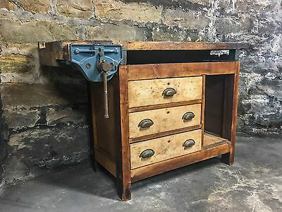 Antique Workbench with Vise Storage Drawers Industrial Furniture Vintage Wood